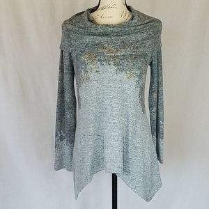 World Unity Sweater with Cowl Shoulder-Wrap